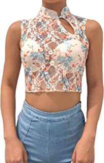 Ortoluckland Women Sexy High Neck Embroidery Lace Hollow Out Crop Top