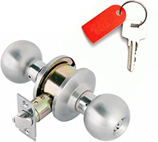 Door Knobs Communicating : Ball Entry Door Knob Keyed On Both Sides : Double Locking Cylinders : Bump Resistant & Anti-Pick Pins : Automatic Latching : for Home Protection