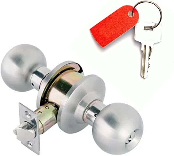 Door Knobs Communicating Ball Entry Door Knob Keyed On Both Sides Double Locking Cylinders Bump Resistant Anti Pick Pins Automatic Latching For Home Protection