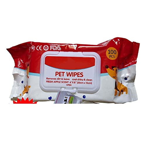 "Pet Needs Wet Pet Wipes for Dogs, Puppies & Pets - Apple Scent 6""x 8"" - Pack of 100 Wipes"
