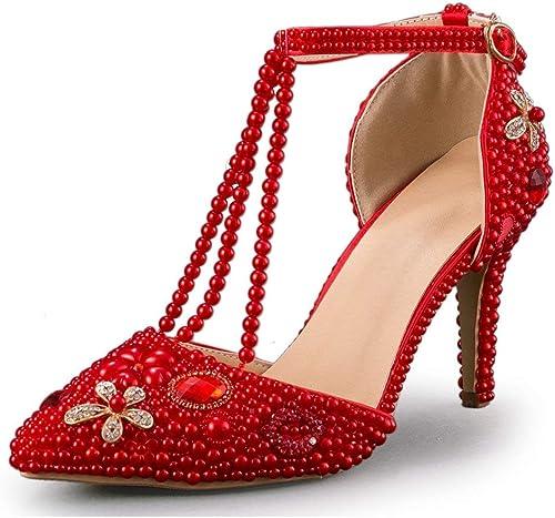 Qiusa T-Strap Toe Stiletto Chaussures à Talon Haut en Cristal pour Femmes (Couleuré   rouge-9cm Heel, Taille   6.5 UK)