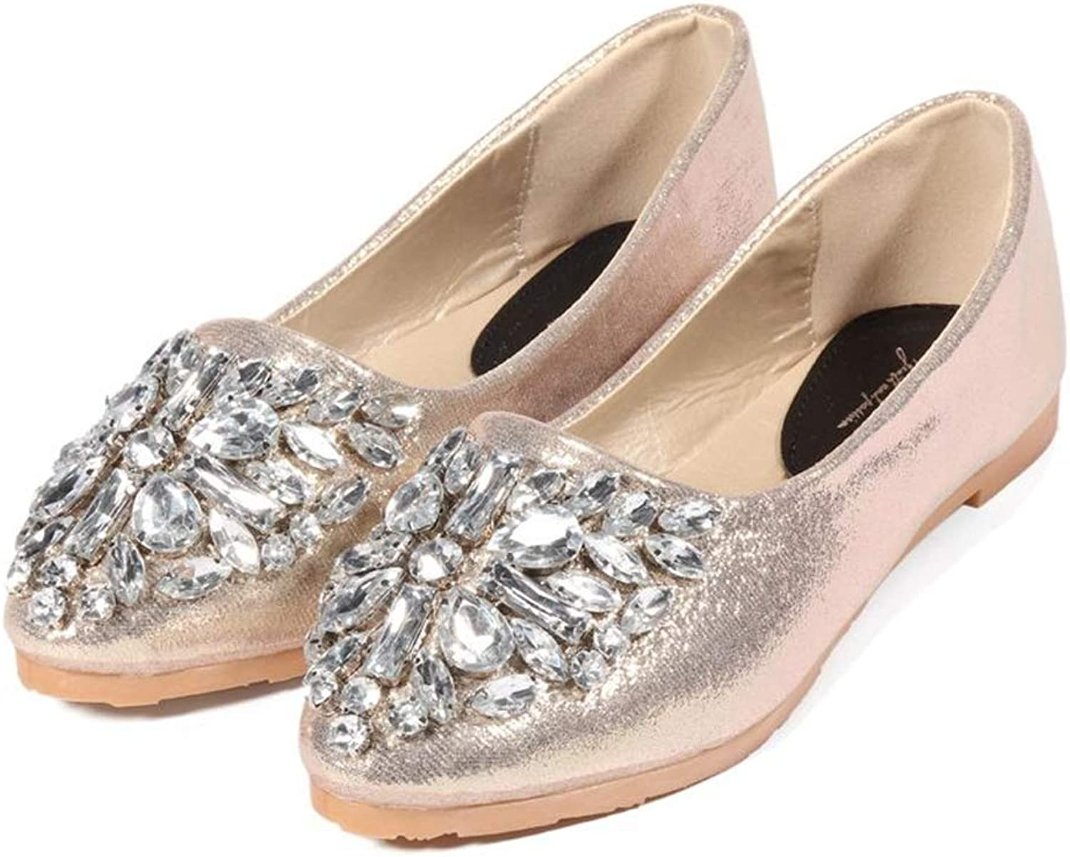 Fay Waters Women Loafers Crystal Pointed Toe Glitter Flats Casual Slip-on Dress shoes