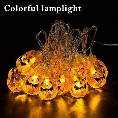 Itian Striscia da 2m con 20 Luci LED a Forma di Zucche 3D Arancioni Alimentate a Batteria per Decorazioni di Halloween