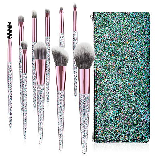 Luxspire Perfekt Pinselset, 10 Stück Make up Set Schminkpinsel mit Puderpinsel Brauenpinsel...