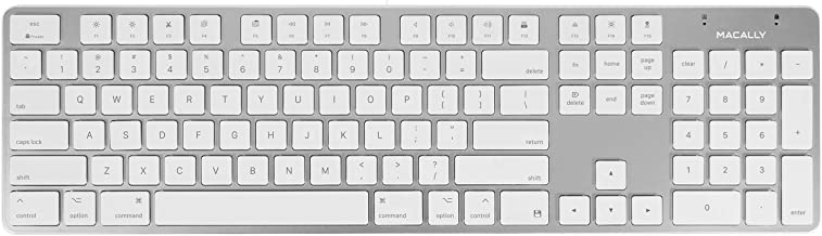 Macally Ultra-Slim USB Wired Keyboard with Number Keypad for Apple Mac Pro, MacBook Pro/Air, iMac, Mac Mini, Laptop Computers, Windows Desktop PC Laptops, Silver (SLIMKEYPROA)