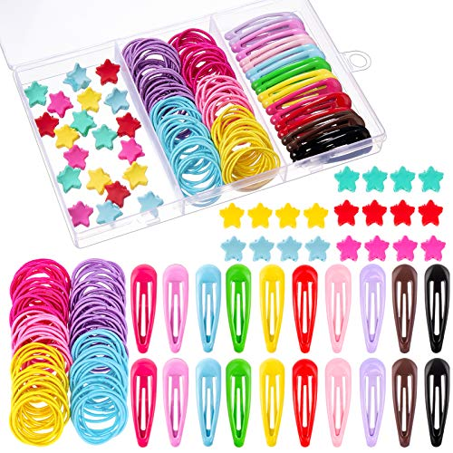 140 Stück Mädchen Haarschmuck Set, Bunt Haargummis Mini Stern Haarklammern Haarclips Haarspangen für Baby Mädchen Kinder