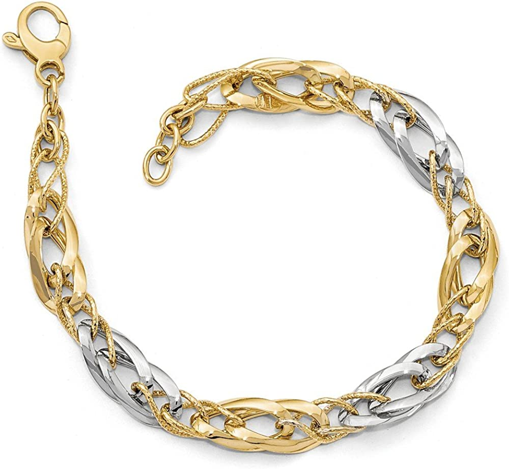 FB Jewels Leslie's Manufacturer Same day shipping direct delivery 14k Two-tone Fancy and Polished textured Link