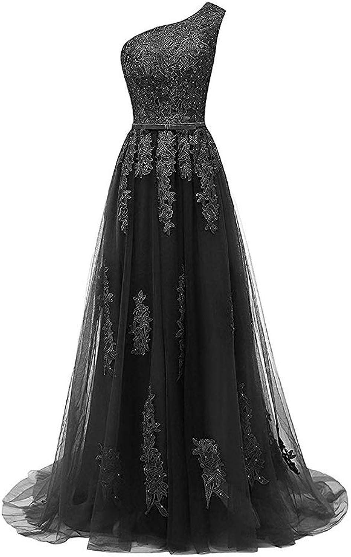 Liyuke Women's One Shoulder Lace Prom Dresses Long Sleeveless Appliqued Evening Dress