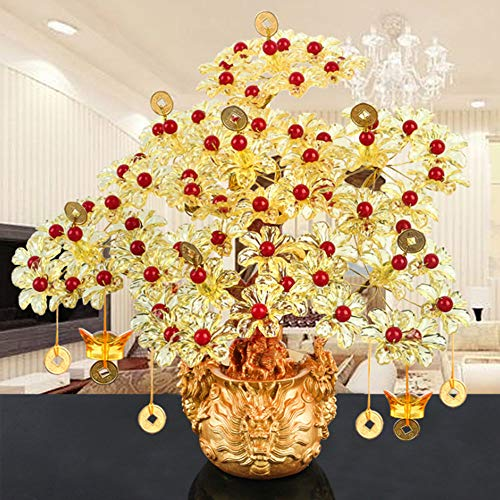 HOVEYY Money Tree Feng Shui,Gold Crystal Money Tree Bonsai Style Decoration for Wealth and Luck