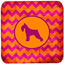 "Caroline's Treasures SDK1054-B-FC Schnauzer Chevron Pink and Orange Foam Coasters (Set of 4), 3.5"" H x 3.5"" W, Multicolor"