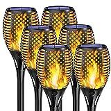 KINGLEAD Solarlampen für außen, Solarleuchte Gartenfackel Realistischer Flammeneffekt mit IP65 Wasserdicht ABS,Led Beleuchtung Solar Fackel automatisch Ein/Aus Licht Sensor Garten Solarfackeln