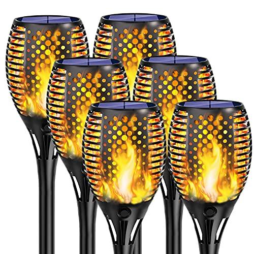 KINGLEAD Lampe Solaire Lampes Solaires Torche de Jardin Extérieur Flamme Lumière IP65 étanche Jardin Lumières éclairage LED Solaire Auto Marche / Arrêt Décoration Lampadaire Lampe de Jardin (6)