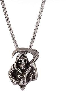 Lparova Reaper Sickles Necklace for Men Gothic Skull Pendant Necklace Stainless Steel Gothic Skeleton Necklace for Men Win...