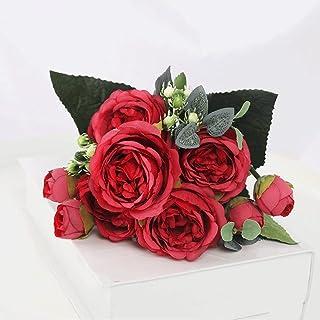 WZHZJ 1 Bouquet 9 têtes Fleurs artificielles Pivoine thé Rose Automne Soie simes Fleurs pour DIY Salon Maison Jardin Décor...