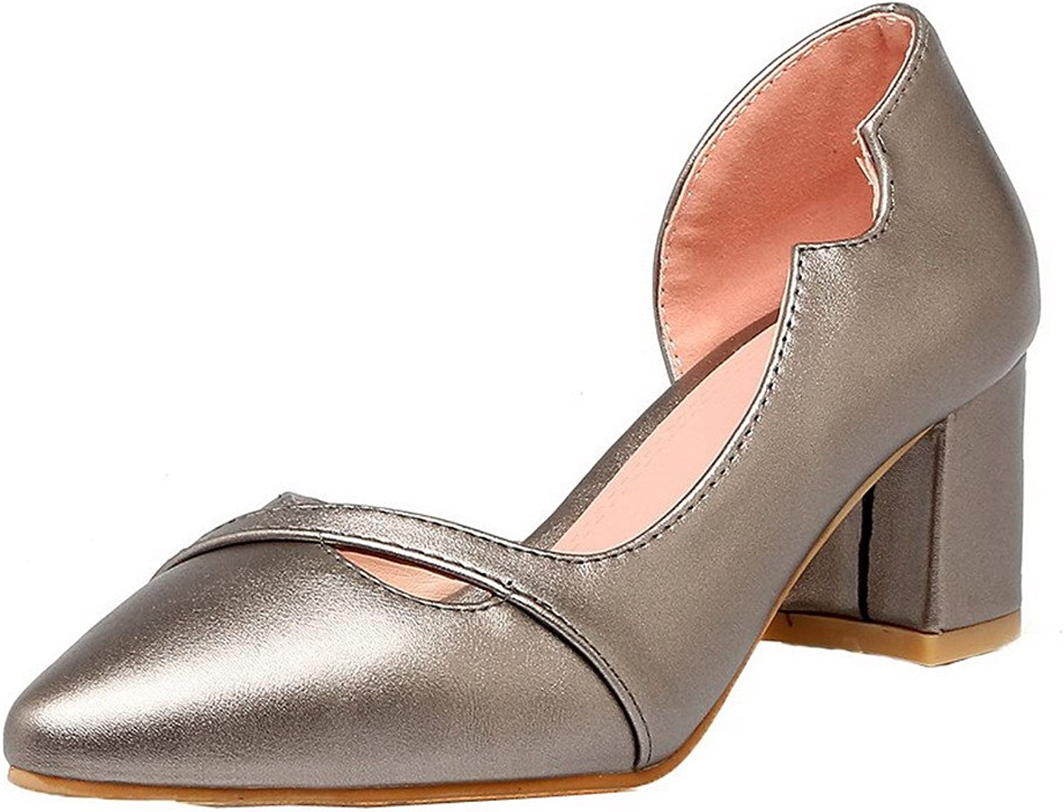 WeiPoot Women's Pointed-Toe Pull-On Kitten-Heels PU Solid Pumps-shoes