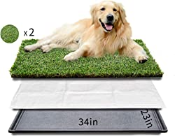HQ4us Dog Grass Large/Small Dog Litter Box Toilet, 2×Artificial Grass for Dogs, with Tray, Realistic, Bite Resistance Turf, Less Stink, Indoor Outdoor pet Potty Training