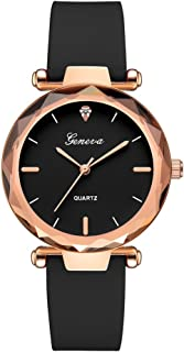 Clearance Sale!💗DEESEE(TM)💗Fashion Womens Ladies Watches Geneva Silica Band Analog Quartz Wrist Watch (Black)