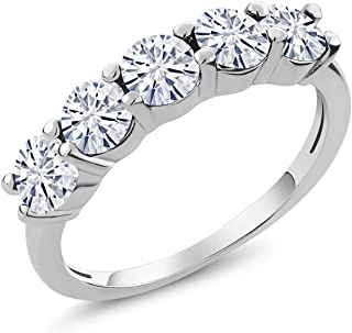 925 Sterling Silver Band Ring Forever Classic Round 1.15ct (DEW) Created Moissanite by Charles & Colvard (Size 9)