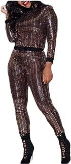 neveraway Women Classic Sequin Long Sleeve Nightclub Shirt + Long Pants Set