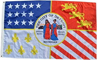 Fyon Large Flag City of Detroit, Michigan Flag 3X5Ft