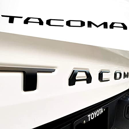 Okrex Tacoma Tailgate Letters Auto Safety Tailgate Insert Letters for Toyo Taco 2016 2017 2018 2019 2020 2021 3D Raised Rear Emblem Decals with Seccotine (3D Matte Black)
