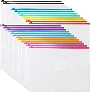 EOOUT 24pcs Plastic Envelopes Poly Zip Envelopes Files Zipper Folders, A4 Size/Letter Size, 10 Colors, for School and Offi...