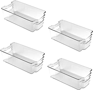 [4-pack] Kylskåpsförvaringslådor, köksförvaringslådor, klar plast stapelbara kylskåpsorganisationsbehållare bricka med han...