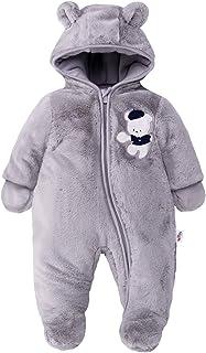 Bebé Traje de Nieve Ropa de Invierno Mameluco con Capucha Fleece Pelele Gris 3-6 Meses