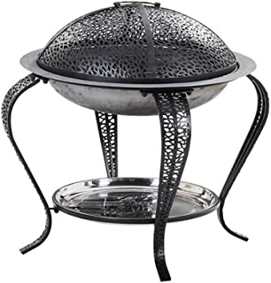 Round Large Fire Pit with Grill, Fire Pits Outdoor Wood Burning Steel BBQ Grill Firepit Bowl with Mesh Spark Screen Cover ...