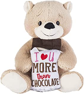 Ganz I Love You More Than Chocolate Love Lines Plush Teddy Bear - Great Gift for Daughter Son Girlfriend Boyfriend Spouse ...
