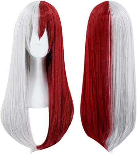 JoneTing Half Silver Wig Cosplay Costume Synthetic Wig Ombre Red Wig for Women Long Natural Wavy Wigs for Halloween
