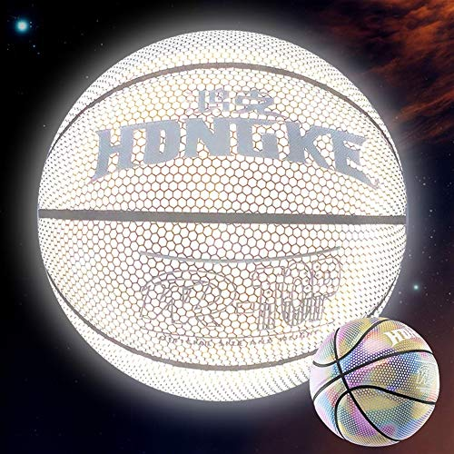 Find Bargain YZPXDD Holographic Glowing Reflective Basketball Mens Official NBA Size 29.5 Size 6 Wom...