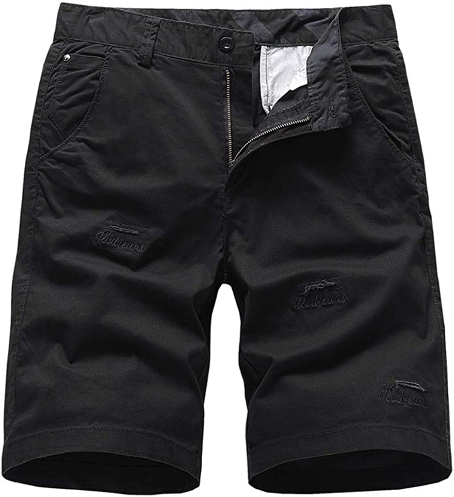 WUAI-Men Casual Workout Shorts Outdoor Sports Casual Relaxed Fit Stretch Twill Cargo Short