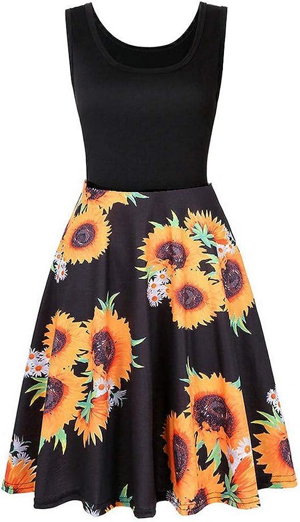 Fankle Summer Casual Flared Tank Dress, Vintage Floral Printed Scoop Neck Dress Sleeveless Midi Dress