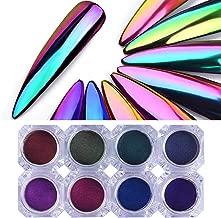 UR SUGAR Nail Art Chameleon Mirror Powder Kit, Chrome Nail Iridescent Color Metallic Effect Nail Pigment Glitter Salon Grade 8 Boxes Kit