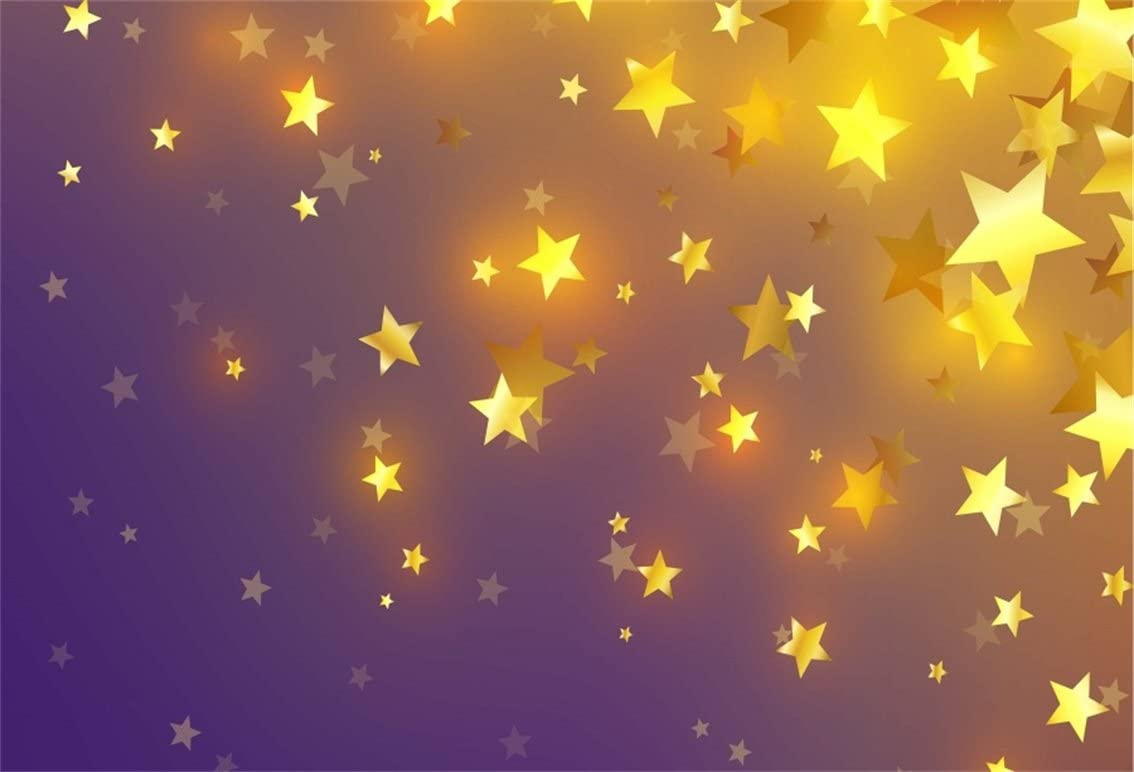 Golden Stars Backdrop 8x6ft Black Dots White Polyester Photography Background Glitter Twinkle Stars Baby Shower Birthday Party Decor Studio Photo Prop Portraits Shoot Poster Wallpaper