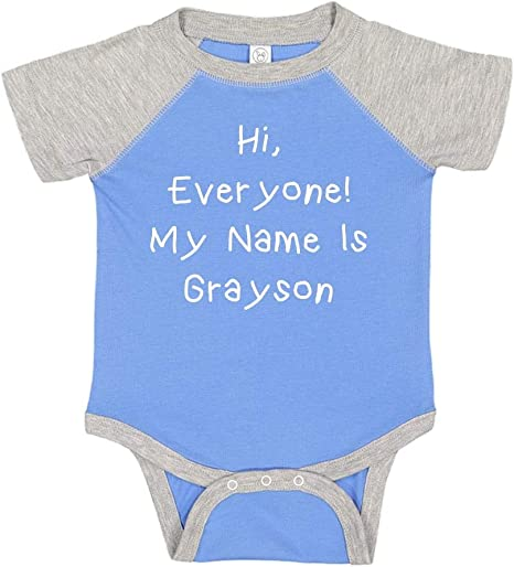 Hello My Name is Grayson Personalized Name Baby Cotton Sleeper Gown