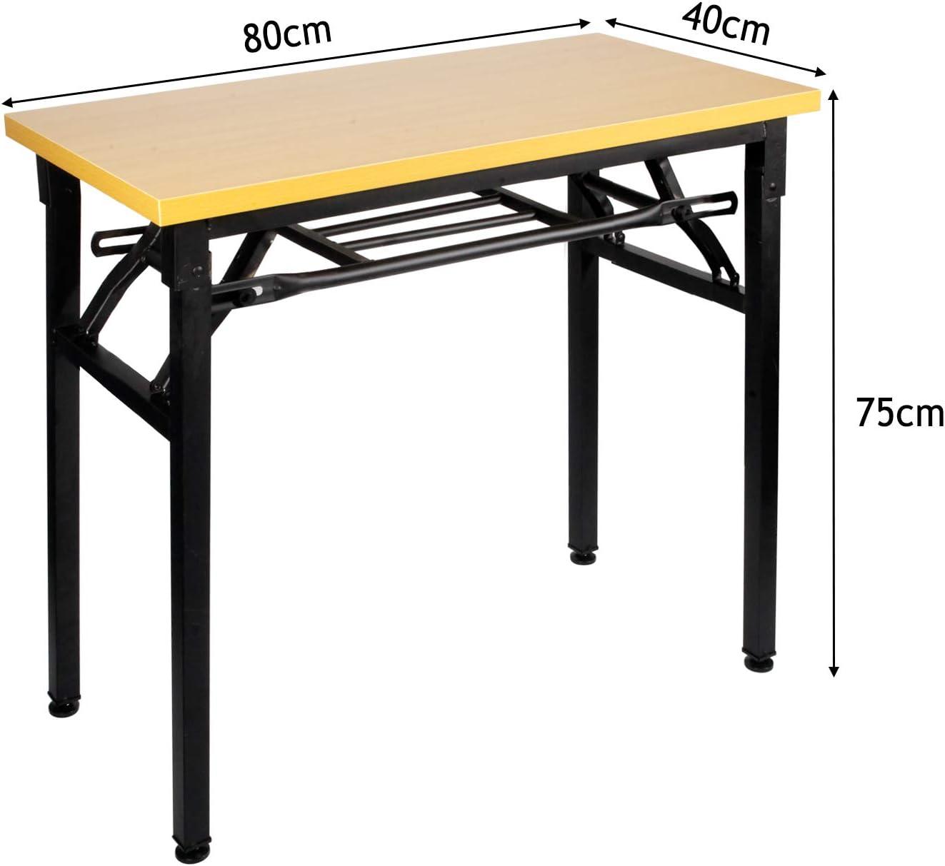 Insputer Table Pliante pour Ordinateur Portable Bureau dordinateur /étudiant 80 X 40 X 75 cm Aucun Assemblage Requis Bureau Pliant Marron avec Pieds R/églables pour L/école de Bureau /à Domicile