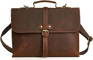 Men's Accessories 15 inch Laptop Handbag,Mens Leather Satchel Office Briefcase Retro Style Messenger Shoulder Tote Bag Outdoor Recreation (Color : Brown)