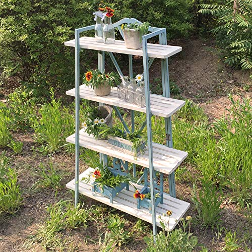 YINUO Vintage en bois ancien Succulent Flower Stand Français Pays Rack Étagère De Rangement Jardin Jardinerie Épicerie Couleur du bois Taille: 32x85x131CM