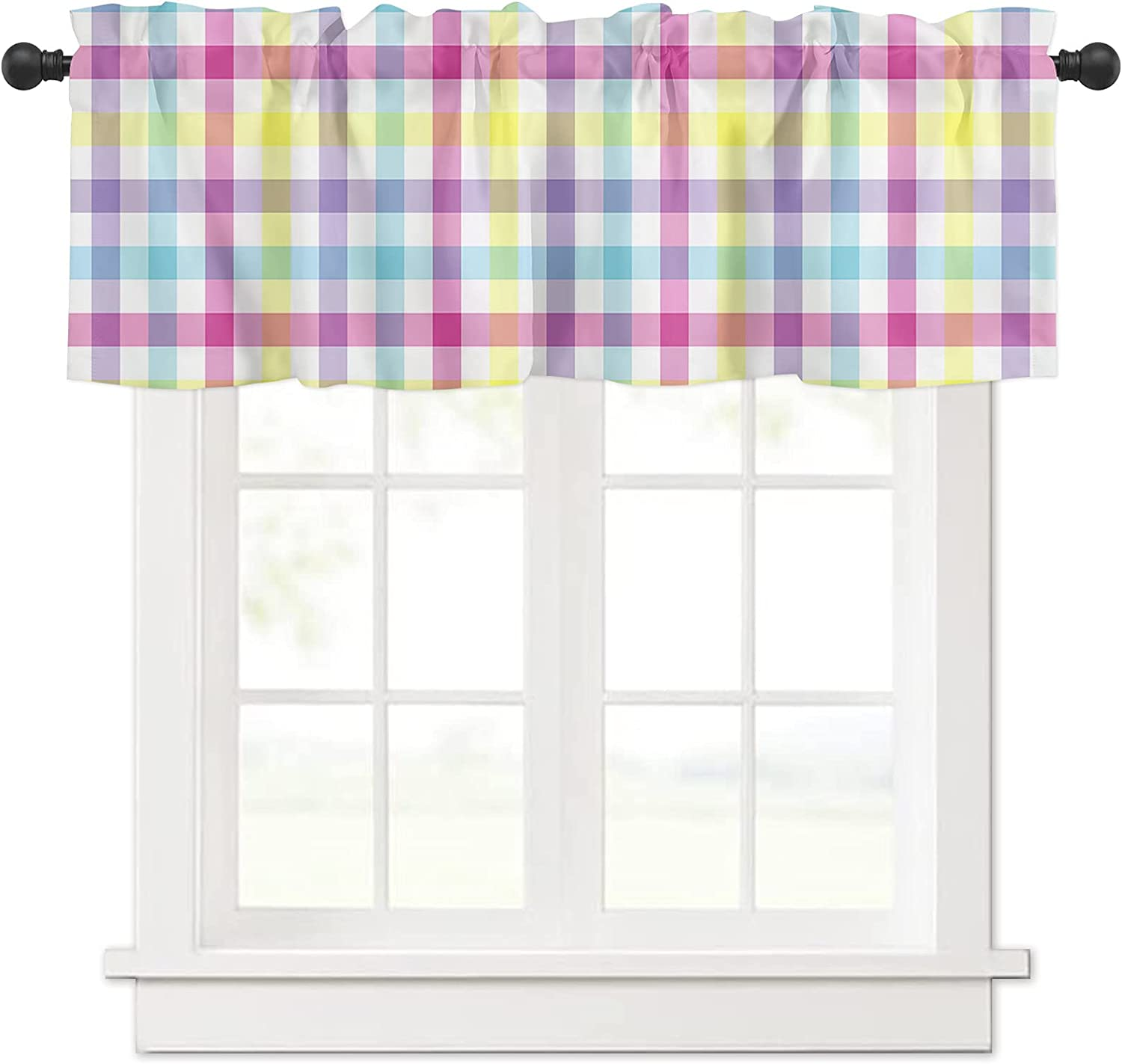 Spring Floral Checker Spring new work Curtain Valances Treatment Windows for Manufacturer OFFicial shop Tie
