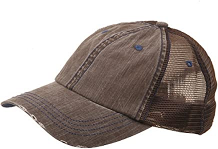 Lightweight Vintage Style Washed Mesh Trucker Baseball Cap Hat (Brown)