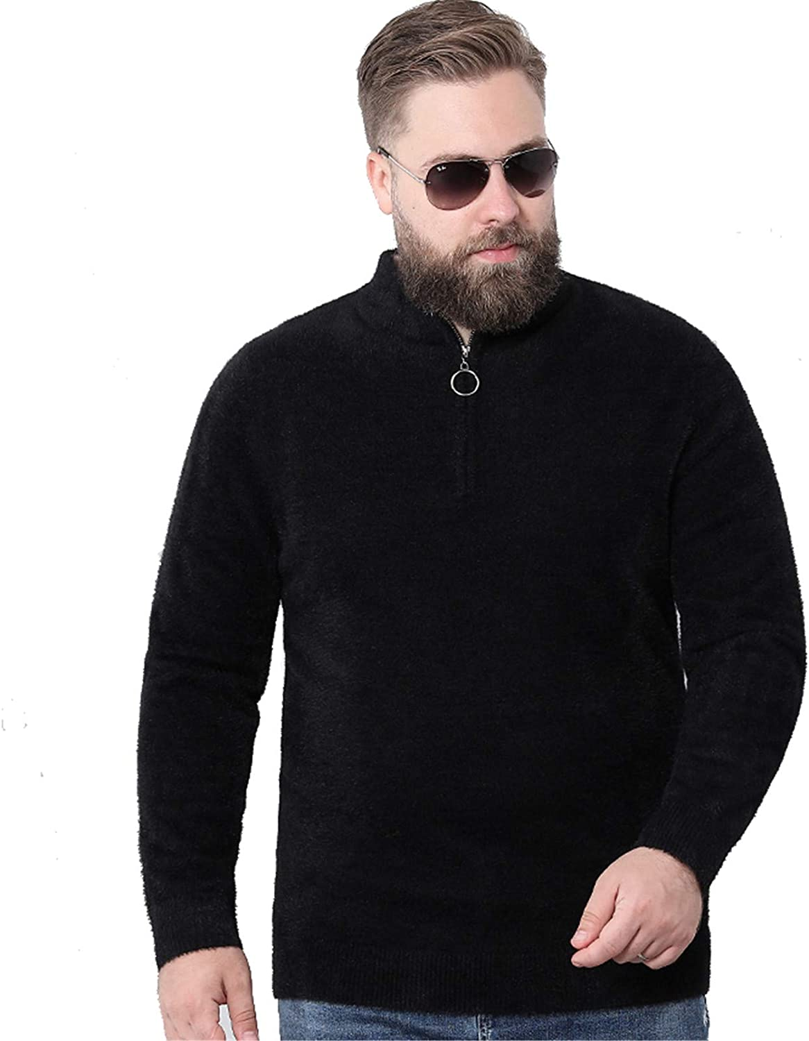 Men's Knitted Pullover Jumpers Thick Sweater Highneck Soft Long Sleeve Fall Winter Cardigans Warm Knitwear Outwear,Black,L