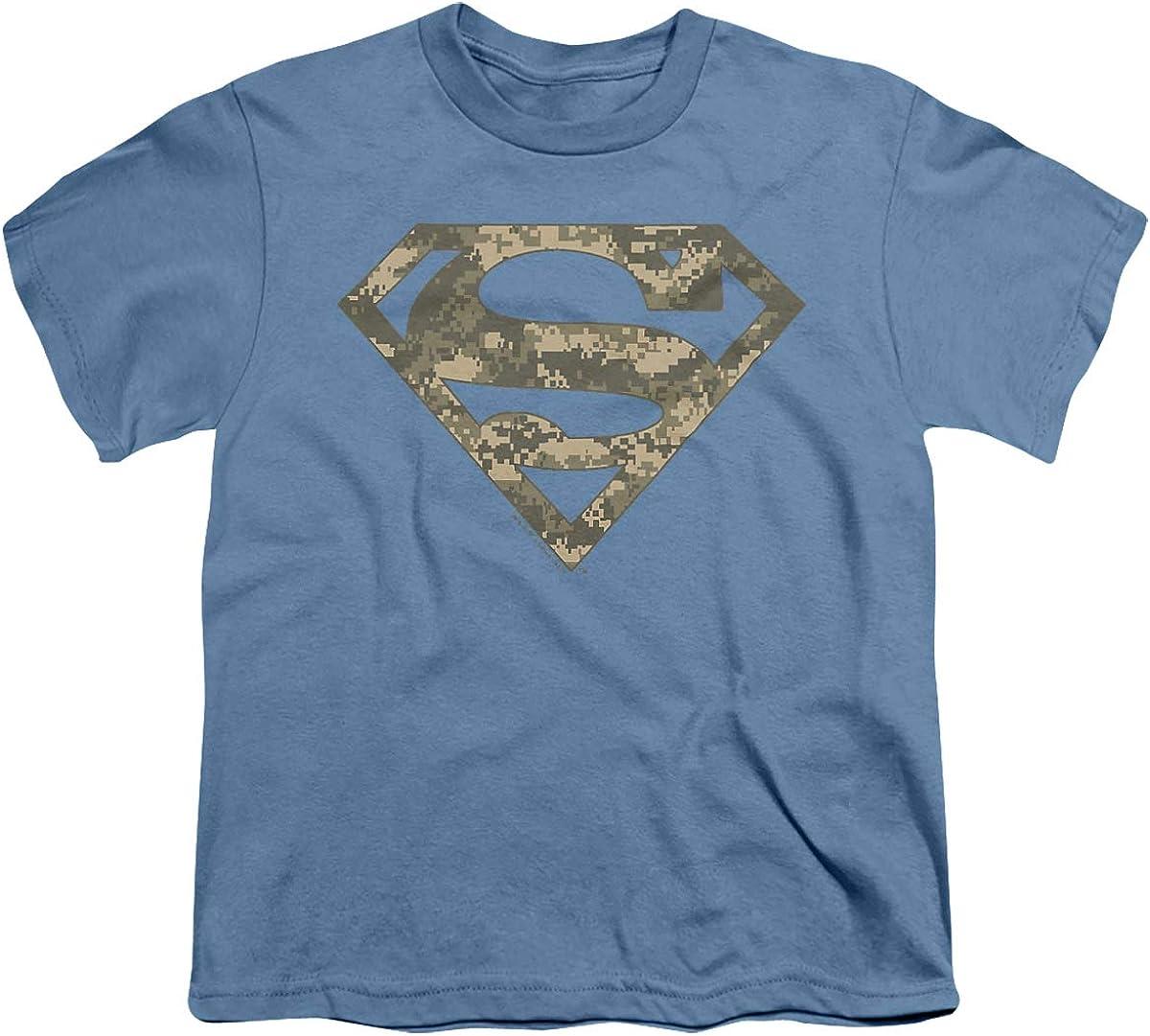 Superman Army Camo Shield Unisex Youth T Shirt, Carolina Blue, Large