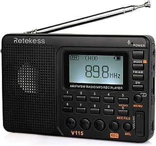 Retekess V115 Radio, Portable AM FM Radio Digital Tuner, Rechargeable Radio Support Recording, Portable MP3 Radio with Bas...