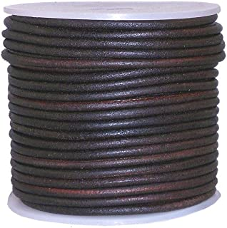 cords craft Round Leather Cord for Round Bracelet, Necklaces Plain Genuine Leather Cord 2.0MM Dark Brown Distress