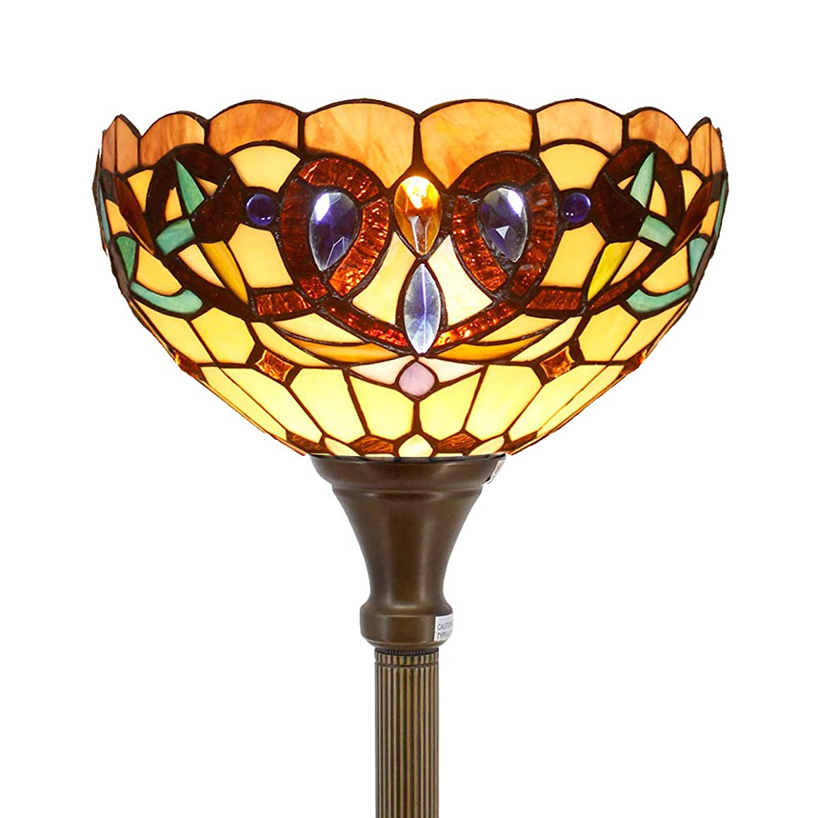 Tiffany Style Torchieres Floor Lamp Table Desk Standing Lighting Serenity Victorian Wide 12 Tall 66 Inch Stained Glass Lampshade for Living Room Bedroom Antique Set S021 WERFACTORY