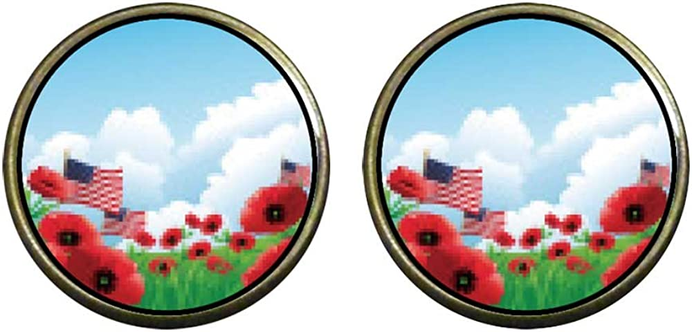 GiftJewelryShop Bronze Retro Style Memorial Day poppies American flags Photo Clip On Earrings #14
