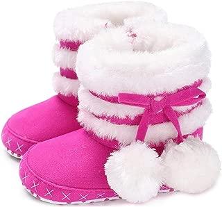 LONSOEN Baby Girls Boys Fur Lining Warm Winter Boots Zipper Infant Soft Sole Snow Booties Boot Crib Shoes