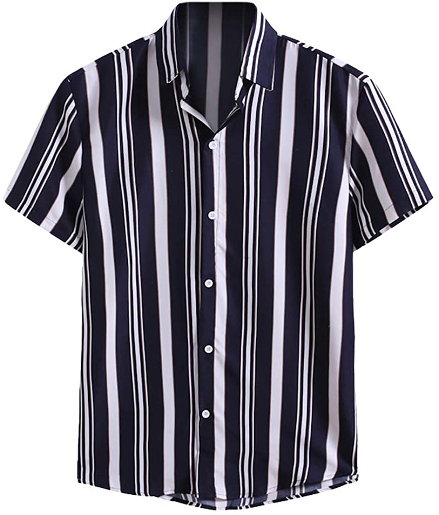 FUNEY Men's Vertical Striped Short Sleeve Button Down Shirts Classic Casual Loose Fit Solid Dress Shirts Formal Shirt Tops